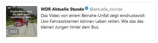 Tweet vom WDR Aktuelle Stunde Fakenews