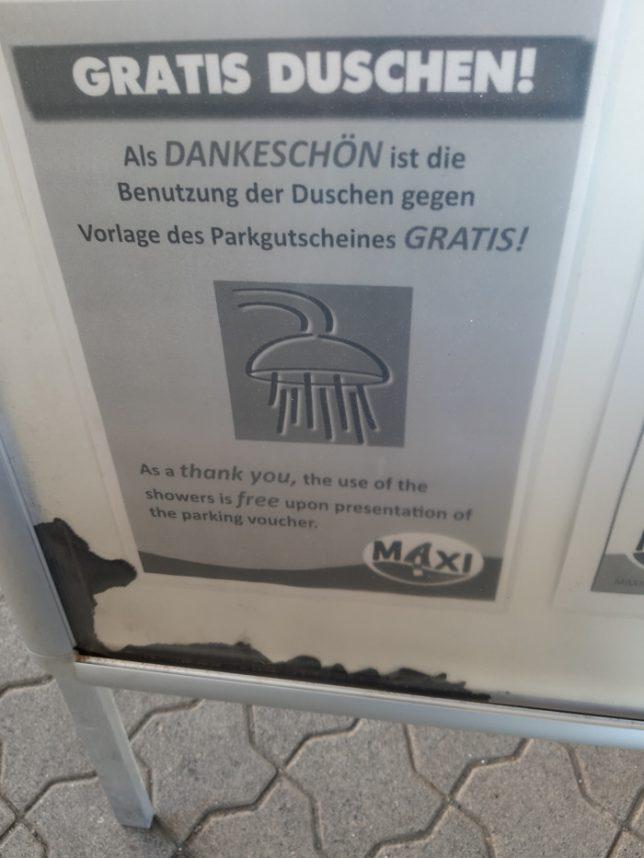 Dusche Maxi Autohof nicht gratis